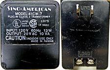 Sino-American 41Cw-7 Ac Dc Adapter E82323 20V 10Va .5A Power Supply Transformer