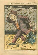 Caricature Politique Ernest Monis Grèle de Bouchon  Champagne 1911 ILLUSTRATION