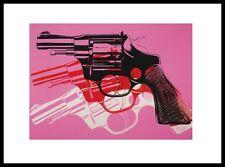 Andy warhol Guns black white red on pink poster art pression dans le cadre alu 28x36cm