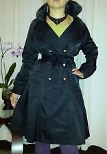 Vertigo PARIS French TRENCHCOAT silk belted fall trench rain coat sz S M 2 4 6