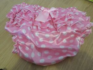 "ADULT BABY SISSY PINK POLKA DOT PATTERN FRILLY PANTS SIZE XL 31""-36"" WAIST"