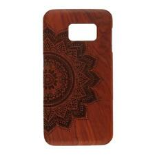 Wooden Phone Case Cover Shell Engraved for Samsung Galaxy S6 Edge-Flower
