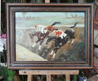 tableau huile sur toile - Steeple chase +  - signée BRETON
