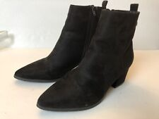 Forever 21 Black Faux Suede Block Heel Booties Ankle Boots Size 7.5 Zip Side