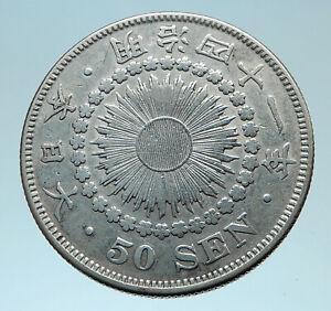 1908 JAPAN Emperor MUTSUHITO Silver 50 Sen Meiji Sunburst JAPANESE Coin i78230
