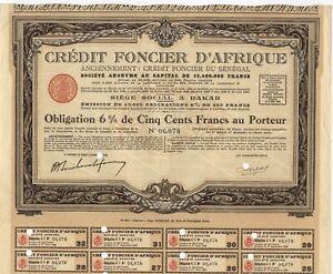 Crédit Foncier du Sénégal SA – 6% Anleihe, 500 Francs, 1929 – Dakar, SENEGAL