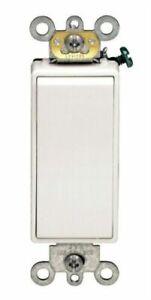 Leviton  Decora  20 amps Rocker  Switch  White  1 pk