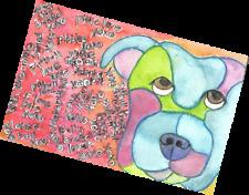 "Pitbull Dog Advocacy Art - Original Painting 8.5 x 5.5"" - pibble artwork canines"