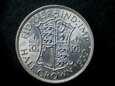George VI, 1939, Half Crown .500 silver, bare head, grade Very Fine