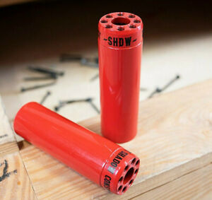 """2 x SHADOW CONSPIRACY PEGS 4.3"""" FITS ALL BMX BIKES HARO SE CULT SUBROSA RED NEW"""
