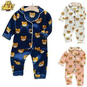 Boys Girls Baby Bear Print Stain Silk Long Pyjamas Toddler Kid Pjs Set Nightwear