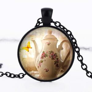 Teapot photo dome Black Cabochon Glass Necklace chain Pendant