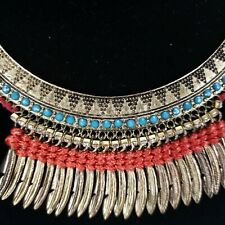 Vintage Tribal Kuchi Belly Dance Necklace Triangles Gold Feathers