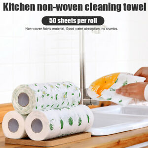 Reusable Washable Non-woven Bamboo Kitchen Dish Cloth Washing Clean Towel Roll H