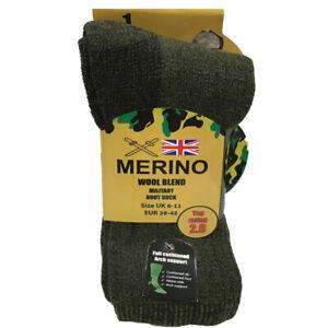 Mens Merino Wool Blend Military Boot Socks 2.8 TOG Warm 6-11 Combat Army Khaki