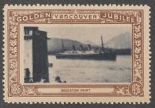 Canada Vancouver BC Brockton Point brown Golden Jubilee poster stamp Ship 1936