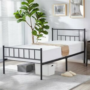 YAHEETECH 13 inch Twin Size Metal Bed Frame with Headboard and Footboard Plat...