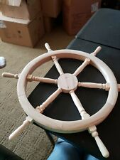 Wooden Captains Ship Wheel Unfinished Wood 18 inch New Nicole