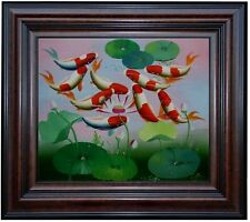 Framed, Quality Hand Painted Oil Painting, Koi Carps in Water Lily Pond 20x24in