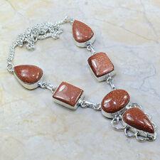 "Handmade Sun Sitara Goldstone Jasper 925 Sterling Silver Necklace 18.5"" #C42933"