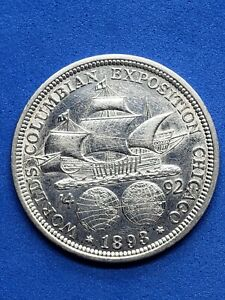 ●《☆♤☆》 1893 Columbian Exposition Commemarative  Silver Half Dollar Circ. EF, 50C