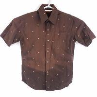 Burton Pearl Snap Brown Short Sleeve Button Front Shirt, Mens Medium
