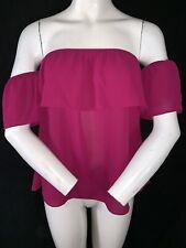 BNWT STRADIVARIUS Women's Pink Open Shoulder Top Blouse Size M