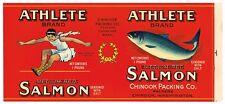 Tin Can Label Vintage Salmon Fishing Chinook Washington Athlete Olympics 1930S