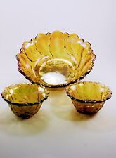 Vintage Gold Carnival Glass Candy Dish and Candle holders