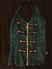 Corset Top Zebra Print Blue & Black with Skulls and Zipper from Hot Topic