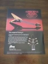 "1983 Vintage PRINT Ad for GIBSON GUITARS THE ORIGINAL FLYING V ""AIRBORNE AGAIN"""