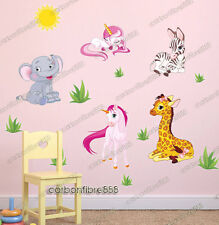 Jungle Animal Zoo Baby Unicorn Zebra Giraffe Wall Stickers Girls Nursery Decals