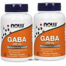 2 bottles NOW Foods GABA 500 mg+B-6 2mg - 100 Caps, Made