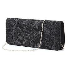 Women Satin Lace Floral Prom Bag Wedding Evening Clutch Handbag Purse Black