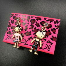 Betsey Johnson Rhinestone Enamel Lovely Boy And Girl Women's Ear Stud Earrings