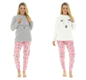 Ladies Bunny & Polar Bear Design Coral Fleece Top Twosie Pyjama Set Sleepwear