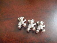 Lot of 3 Miniature Pewter Teddy Bear Figurines
