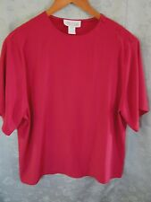 Vintage 90's Alyssa Carr Top Size 12 Deep Red Shoulder Button Collarless Shell