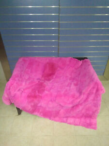 Natural Bright Pink Rex Fur Throw 100% Real Rex Fur Bedspread / Blanket Discount