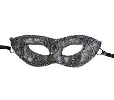 Masque érotique dentelle noir et argenté semi rigide -déguisement soirée coquine