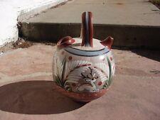 VTG Tonala MEXICO Folk Art POTTERY Large Pitcher JUG Vase WHITE DEER Figure