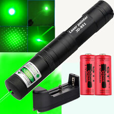 Green Laser Pointer Pen Light Zoomable 1mw Visible Beam+2x16340 Battery