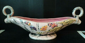 Vtg 1950's Hull Art Pottery Blossom Flite PINK Centerpiece Console Bowl T-10 #2