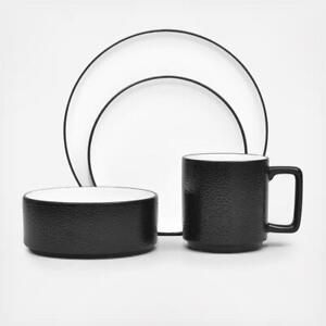 Noritake Colortex Stone Black 4 Piece Porcelain Dinnerware Place Setting