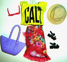 %**Barbie California Fashionistas Kleidung,Shirt,Rock,Tasche,Schuhe,Hut,Brille*%