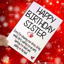 Feliz Cumpleaños Tarjetas de EL PERRO DIVERTIDO Sister Gracias Bromas pc272