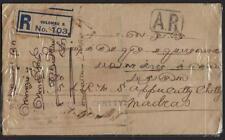 CEYLON INDIA 1921 REIGISTERED COLOMBO COVER W/AR MARKING AVIS DE RECEPTION REQUI