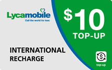 Lyca Mobile  Prepaid $10 Refill Top-Up Prepaid Card ,PIN / RECHARGE