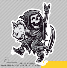 Grim Reaper Happy Riding Unicorn To Vinyl Sticker Decal Window Car Van Bike 2421