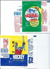 Topps wax wrappers,from 1985 Hockey cards, 1984 baseball cards